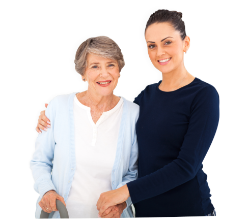 a lady and an old woman smiling